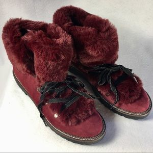 Shoes - Burgundy Plush Faux Fur Lined Lace Up Hiking Boots
